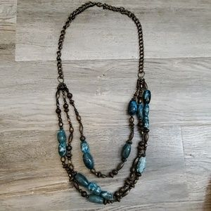 Dark turquoise and bronze multi-strand necklace